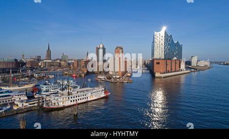 aerial photo of Landungsbruecken and Elbe Philharmonic Hall, Hamburg, Germany - Stock Photo