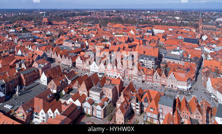 aerial photo, old town, Lueneburg, Lower Saxony, Germany - Stock Photo