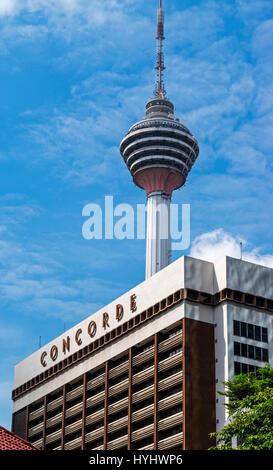The Kuala Lumpur Tower and Concorde Hotel, Kuala Lumpur, Malaysia - Stock Photo