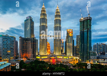 Kuala Lumpur Petronas Twin Towers and City Centre Overview, Malaysia - Stock Photo