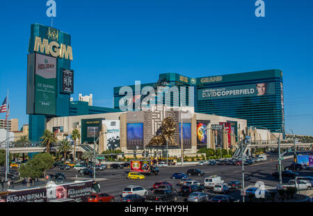 MGM Grand Hotel and Casino S. LAS VEGAS BLVD, LAS VEGAS, NEVADA, USA - NOV 25TH 2016: Across the intersection of - Stock Photo
