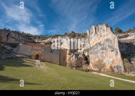 River wolves canyon and Templar Heremitage, In Soria province, Spain. - Stock Photo
