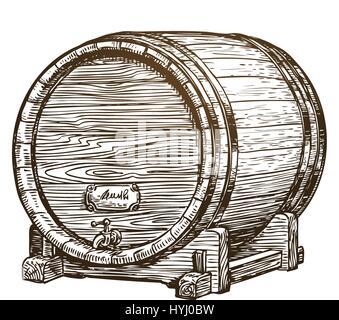Hand drawn vintage wooden wine cask. Drink, oak barrel sketch. Vector illustration - Stock Photo