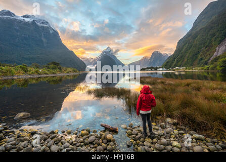 Tourist looking at the landscape, Miter Peak reflected in the water, sunset, Milford Sound, Fiordland National Park, - Stock Photo