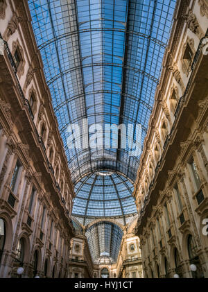 Glass roof of Galleria Vittorio Emanuele II, Milan, Italy - Stock Photo