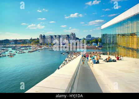 View of waterfront and  harbour with yachts and boats - Stock Photo