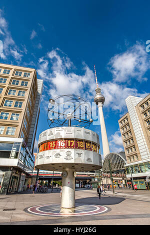 World clock and television tower, Alexanderplatz, Berlin-Mitte, Berlin, Germany - Stock Photo