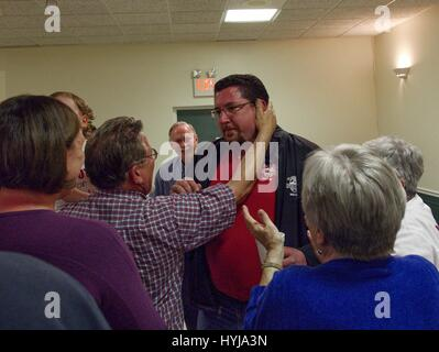 Ferguson, Missouri, USA. 5th Apr, 2017. Ferguson Mayor JAMES KNOWLES is embraced by his father after the announcement he was re-election. Credit: Steve Pellegrino/ZUMA Wire/Alamy Live News