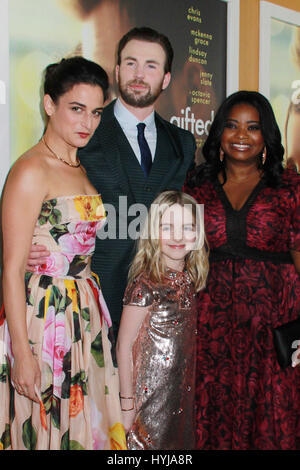 Los Angeles, USA. 04th Apr, 2017. Jenny Slate, Chris Evans, Mckenna Grace, Octavia Spencer 04/04/2017 The Los Angeles - Stock Photo