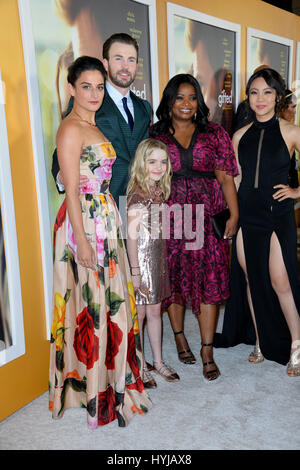 Los Angeles, USA. 04th Apr, 2017. LOS ANGELES, CA - APRIL 4, 2017: Actors Jenny Slate, Chris Evans, Octavia Spencer, - Stock Photo