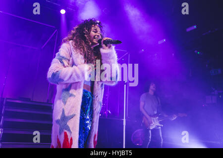 London, UK. April 4, 2017 - British singer/songwriter, Ella Eyre, performs a one off show at KOKO in Camden, London, - Stock Photo