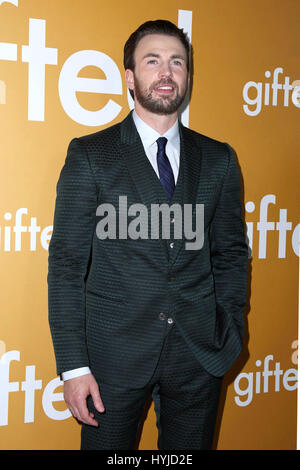 Los Angeles, Ca, USA. 4th Apr, 2017. Chris Evans at the Gifted Premiere at the Pacific Theaters at the Grove in - Stock Photo