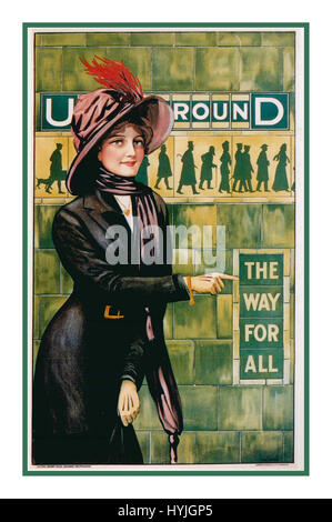 Vintage Historic retro Tube poster art – London Underground 'THE WAY FOR ALL' by ALFRED FRANCE, 1911 - Stock Photo