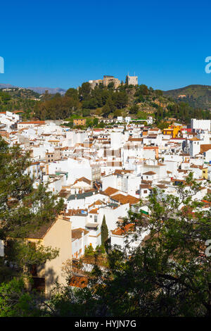 White village of Monda. Natural Park Sierra de las Nieves. Malaga province Costa del Sol. Andalusia Southern Spain, - Stock Photo