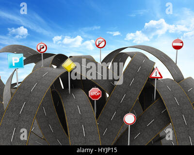 Tangled, crowded, chaotic roads and many traffic signs. 3D illustration - Stock Photo