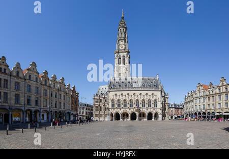 La Place des Héros and Hôtel de Ville, Arras, Pas-de-Calais, France - Stock Photo