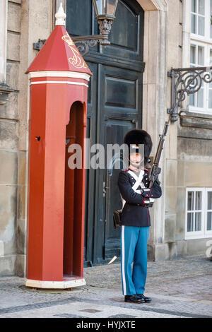 COPENHAGEN, DENMARK - MARCH 11, 2017: Amalienborg Palace, Copenhagen. Royal Life Guards (Danish: Den Kongelige Livgarde), - Stock Photo