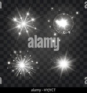 Glowing light sparkles set on transparent background. Vector illustration - Stock Photo