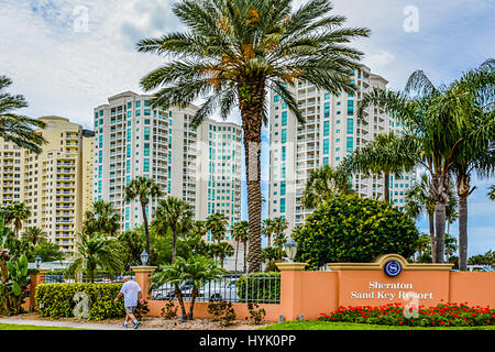 Tropical urban view of the highrise buildings of the Sheraton Sand key Resort & Hotel, locatred on GulfK Blvd., - Stock Photo