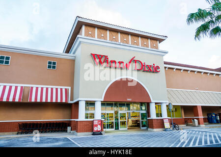 Orlando Florida Lake Buena Vista Winn Dixie supermarket grocery store shopping exterior sign entrance front - Stock Photo