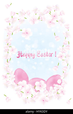 Floral card for celebrating Easter with cherry blossoms and easter eggs abouve blue shimmering sky - Stock Photo
