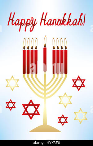 Illustrated card for celebrating Hanukkah - Stock Photo
