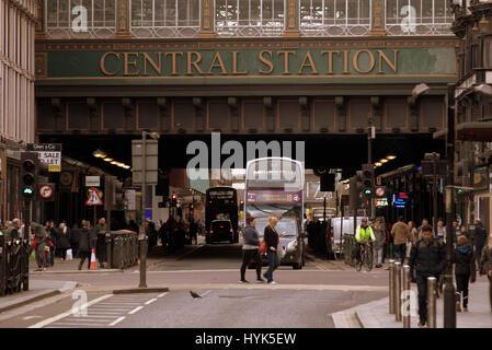 central station the highlanders umbrella Glasgow  street scene - Stock Photo