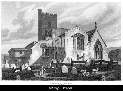 An engraving of Wooburn Church near Marlow scanned at high resolution from a book printed in 1812.  Believed copyright - Stock Photo