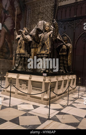 The tomb of explorer and navigator Christopher Columbus who discovered the New World in the 14th century lay in - Stock Photo