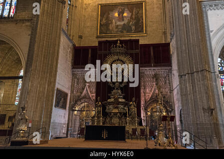 The Silver Or Jubilee Alta ( Altar De Plata) inside the Roman Catholic Cathedral of Saint Mary of the See (Catedral - Stock Photo