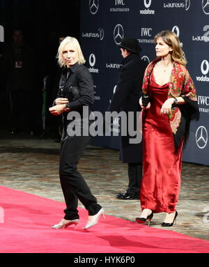 Martina Navratilova and Julia Lemigova arriving at a sports award evening in Westminster, London, UK. - Stock Photo
