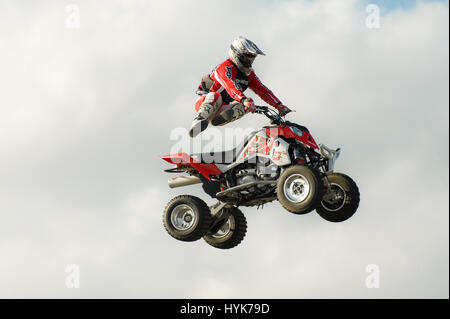 Santa Pod, UK - October 29, 2011: Stunt rider Jason Smyth performing at the Flame and Thunder event at Santa Pod - Stock Photo