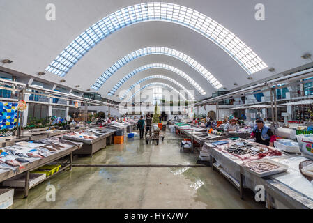 Fish stands in Matosinhos Municipal Market (Mercado Municipal de Matosinhos) Matosinhos city, part of Grande Porto - Stock Photo