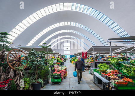 Vegetable stands in Matosinhos Municipal Market (Mercado Municipal de Matosinhos) Matosinhos city, part of Grande - Stock Photo