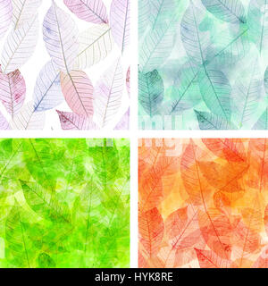 A set of seamless patterns with skeleton leaves, representing the four seasons of the year, toned in the hues of - Stock Photo