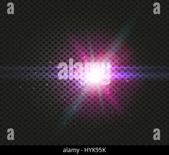 Shining vector blue color light effects, glowing beams on checkered background, illumination vector illustration - Stock Photo