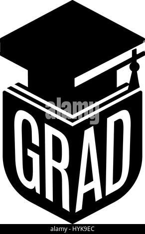 Isolated black and white color bachelor hat of books logo on white background, students graduation uniform logotype, - Stock Photo