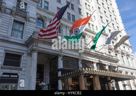 Entrance, The Plaza Hotel,  Midtown Manhattan, New York City - Stock Photo