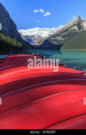 Rental canoes at Lake Louise, Banff National Park, Alberta, Canada. - Stock Photo