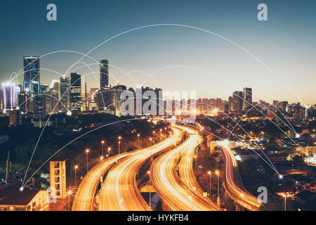 city scape and network connection concept  Image ID:411942079 - Stock Photo