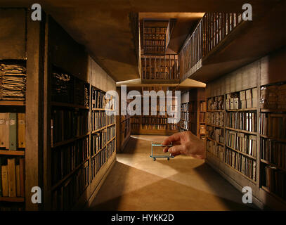 LYON, FRANCE: One to twelve scale replica of 'Les Archives' by Dan Ohlmann. STEP INTO the miniature world of this - Stock Photo