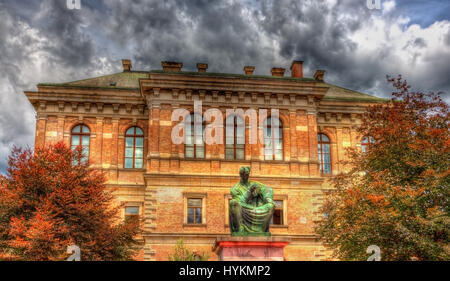 Statue of Josip Juraj Strossmayer in front of Croatian Academy of Sciences and Arts - Zagreb - Stock Photo