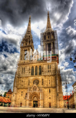 Zagreb Cathedral on Kaptol - Croatia - Stock Photo