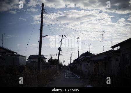 OTAMA VILLAGE, FUKUSHIMA: ONE FAMILY'S five-year struggle to overcome the Fukushima disaster by living in the radiation - Stock Photo