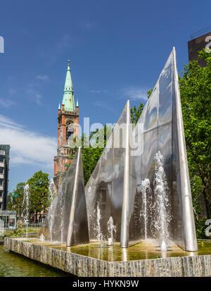 Modern fountain in Dusseldorf, Germany - Stock Photo