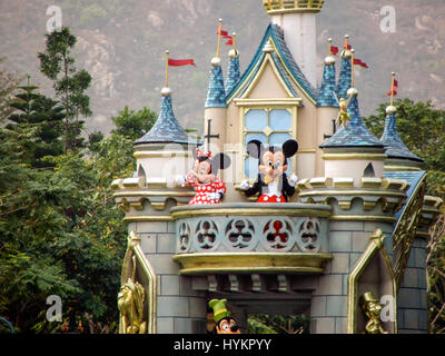 Hong Kong China 18 January 2007 The Disneyland parade travels down Main Street to the delight of all visitors to - Stock Photo