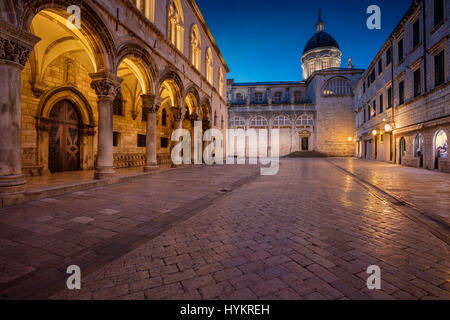 Dubrovnik. Beautiful romantic streets of old town Dubrovnik during twilight blue hour. - Stock Photo