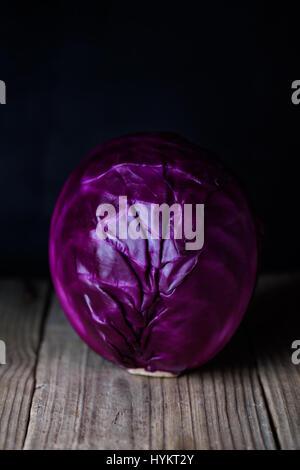 Purple cabbage, vegetarian, healthy food. Close up, fresh organic vegetables. - Stock Photo