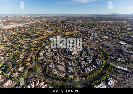 Aerial view of the Summerlin community in Las Vegas, Nevada. - Stock Photo