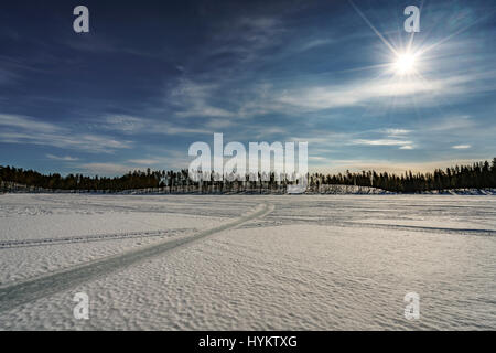 Winter landscape, Lapland, Sweden - Stock Photo